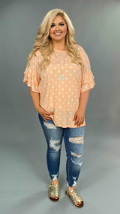 PQ-E {Save Me A Spot} Peach Polka-Dot Top Ruffle Sleeves