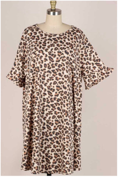 53 PSS-B {Leopard Runs Wild} Taupe Tunic Ruffled Sleeves Extended Plus 3X 4X 5X