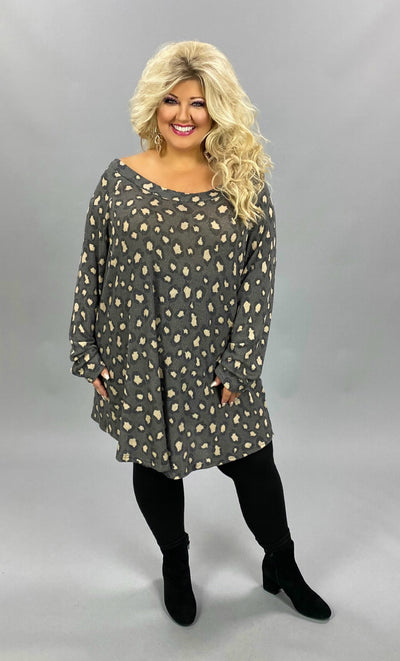 11-03 OS-C {Early Riser} Grey Animal Print Waffle Tunic EXTENDED PLUS SIZE 4X 5X 6X