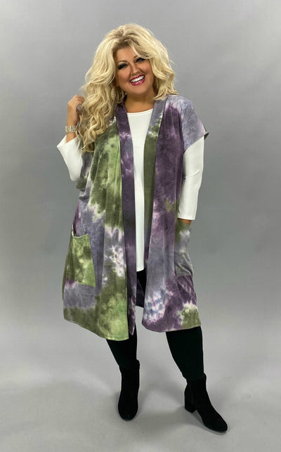 OT-Y {Can't Ignore}  SALE!! Purple Green Tie Dye Knit Vest CURVY BRAND EXTENDED PLUS SIZE 3X 4X 5X 6X