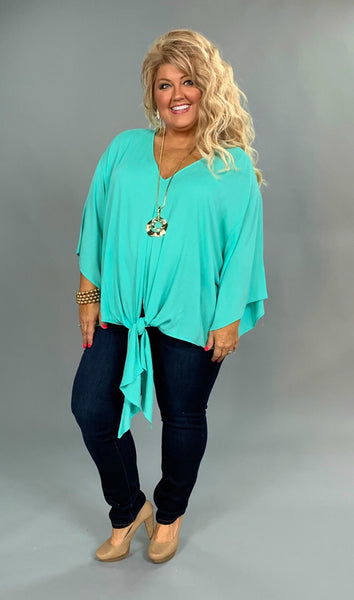 SQ-S {Time To Celebrate} Mint V-Neck Top with Front Tie