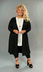 OT-M {Great Day} Black Cardigan with Drawstring Waist