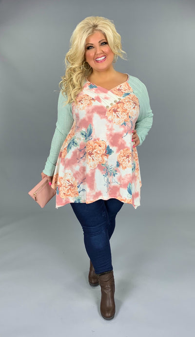 CP-S {Until I See You} Floral Tunic with Soft Green Sleeves SALE!!