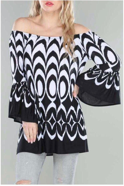 56 PQ-Z {Last Dance}  Black White Printed Tunic EXTENDED PLUS SIZE 4X 5X 6X