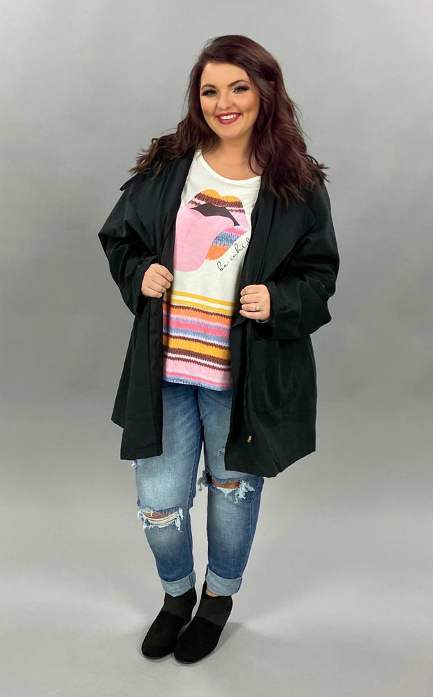 OT-P {Back In Black} Long Coat with Hood & Drawstring Waist SALE!!