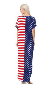 LD-B {American Woman} American Flag Print Maxi Dress PLUS SIZE 1X 2X 3X