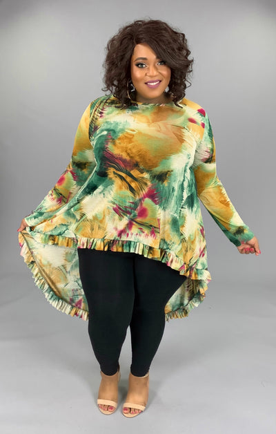 LD-T (Enchanted) Mustard Multi Color Tropical Hi-Low Top PLUS SIZE 1X 2X 3X