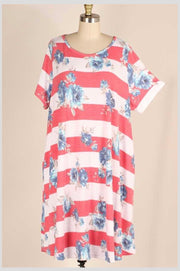 PSS-C {Front & Center) Faded Red Wide Stripe Dress with Blue Rose Print EXTENDED PLUS SIZE 3X 4X 5X