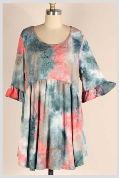 PQ-A {Magnificent Look} Pink & Blue Tie Dye Babydoll Dress EXTENDED PLUS SIZE 4X 5X 6X SALE!!