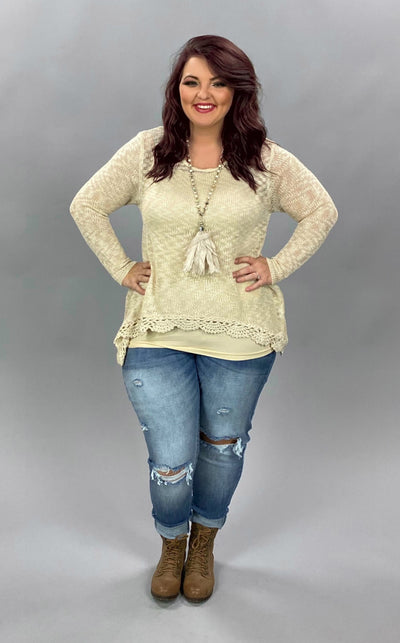 "SLS-T ""Selfie Couture"" Beige Hi-Lo Sweater with Crochet Hem  SALE!!"