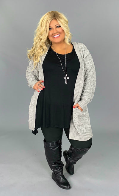 OT-S {Treat You Better} Light Grey Popcorn Sweater Cardigan with Pockets SALE!!