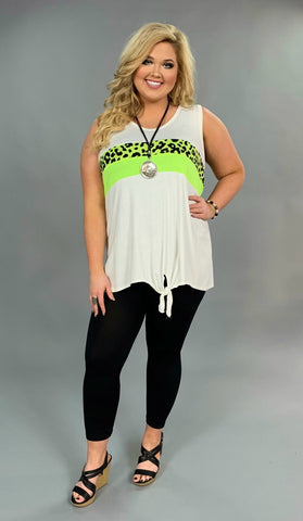 SV-D {Live It Up} Sleeveless Top with Neon Leopard Detail