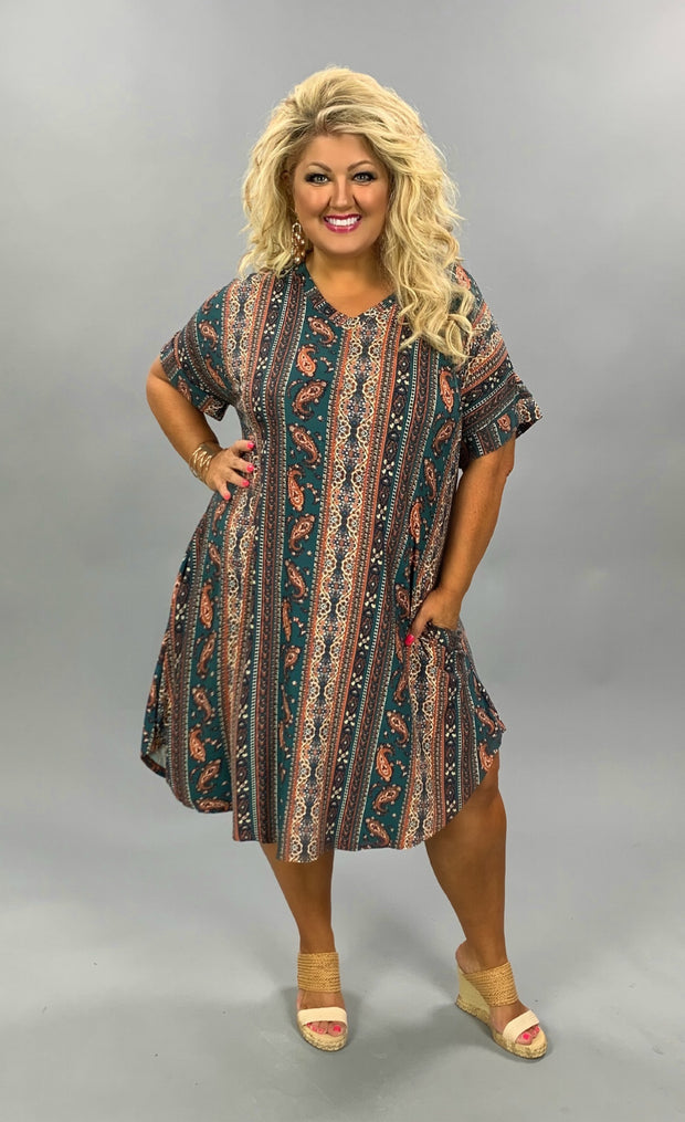 PSS-J {In The Forest} Green, Orange Paisley Pattern Dress *SALE!!* PLUS SIZE 1X 2X 3X