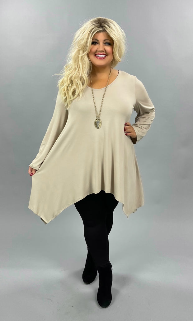 28 SLS-F {Think Basic} Taupe A Symmetrical Tunic CURVY BRAND EXTENDED PLUS SIZE 3X 4X 5X 6X