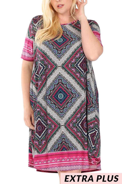 PSS-M/A{Never Quit}Black/Fuchsia Quilt Pattern Dress EXTENDED PLUS SIZE 3X 4X 5X