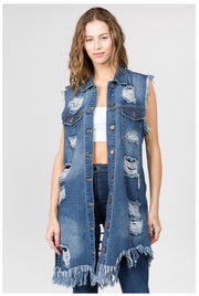 OT-H {Slashed} Distressed Denim Vest W/Pockets PLUS SIZE 1X 2X 3X