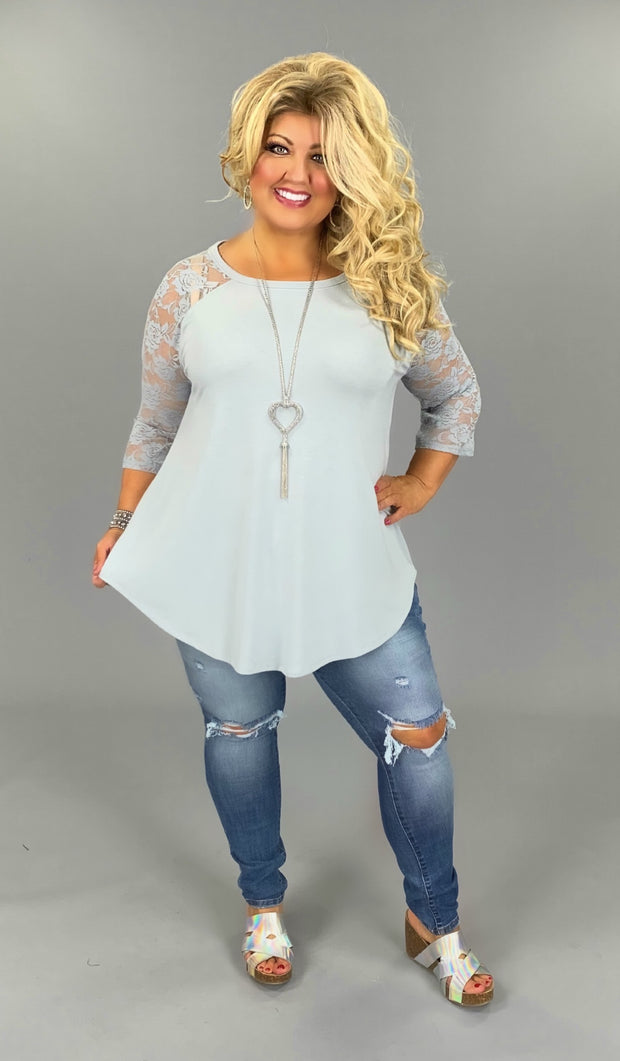 SQ-B (Lace & Faith) SALE!! Light Grey Tunic With Lace Sleeves PLUS SIZE 1X 2X 3X