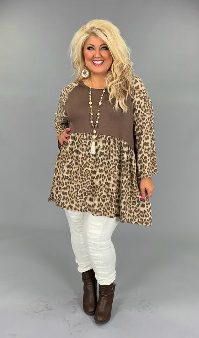 CP-D {For The Best} Leopard Print Babydoll Contrast Top Extended Plus
