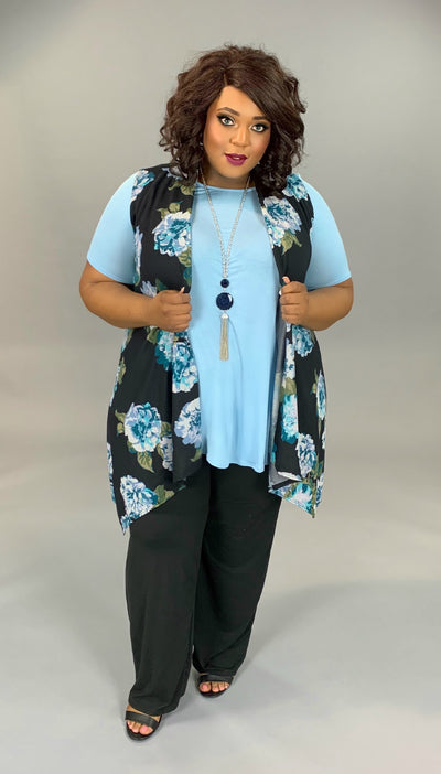 OT-H {Northern Breeze} Black Vest with Teal Floral Print Extended Plus