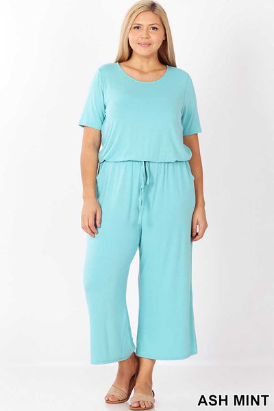 RP-A {Jump Start} Light Turqouise Jumpsuit With Back Tie Neck/Elastic Waist PLUS SIZE 1X 2X 3X