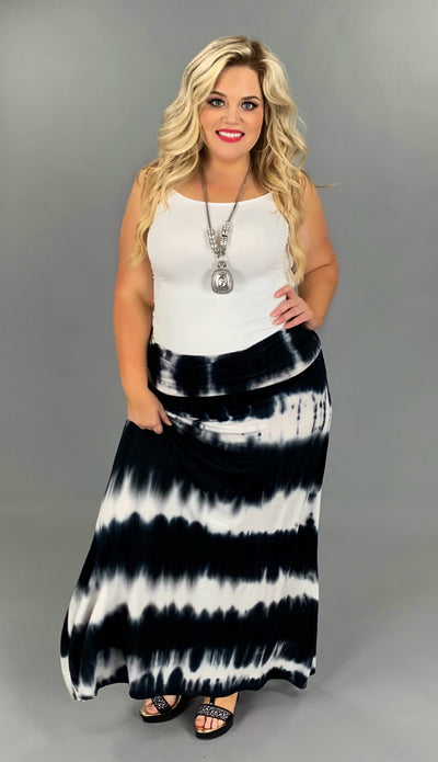 BT-T {So Far Out!} Black/White Tie-Dye Maxi Skirt PLUS SIZE 1X 2X 3X
