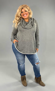 "CP-S ""ADORA"" Gray French-Terry Top with Cowl Neck SALE!"