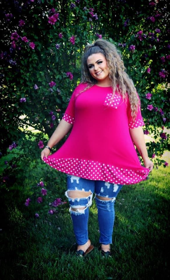 CP-O {Nothing But Smiles} Pink Polka Dot Details CURVY BRAND EXTENDED PLUS SIZE 3X 4X 5X 6X SALE!!