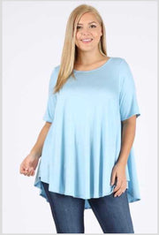 SSS-O (A Must Have) Denim Blue Tunic With Rounded Hem EXTENDED PLUS 3X 4X 5X