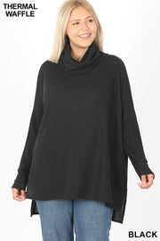 39 SLS-J {Good To Chill} Black Waffle Knit Cowl Neck Top PLUS SIZE XL 2X 3X