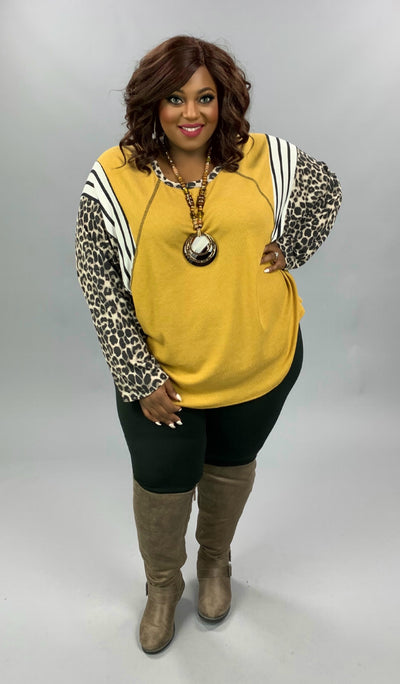 CP-D {If I Were Yours} Mustard Leopard Stripe Waffle Knit Top EXTENDED PLUS SIZE 4X 5X 6X
