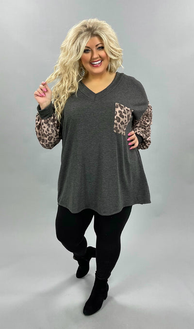 42 CP-P {Dream Filled} SALE!!  Grey Blush Leopard Top CURVY BRAND EXTENDED PLUS SIZE 3X 4X 5X 6X