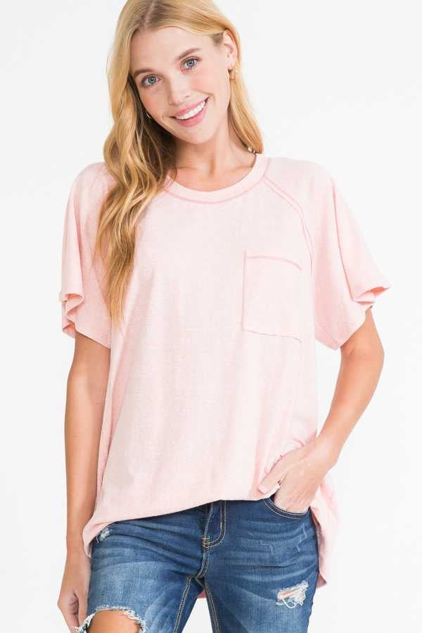 61 SSS-A {Comfy Cutie} Blush Pink Top with Pocket PLUS SIZE 1X 2X 3X