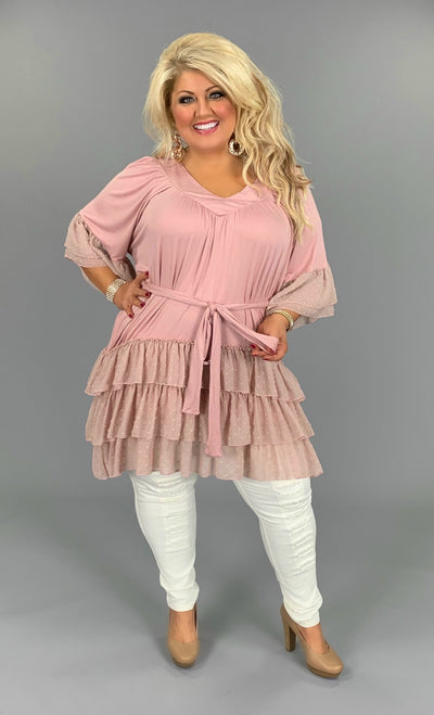 CP-D (Made To Perfection) Mauve Dress W/ Ruffle Contrast PLUS SIZE 1X 2X 3X