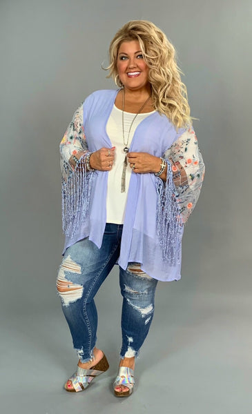 OT-D {Spring Day} Blue Cardigan with Floral Sheer Wide Fringed Sleeves