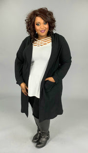 OT-H {So Gorgeous} Black Hooded Cardigan with Back Detail Size 1X 2X 3X SALE!!