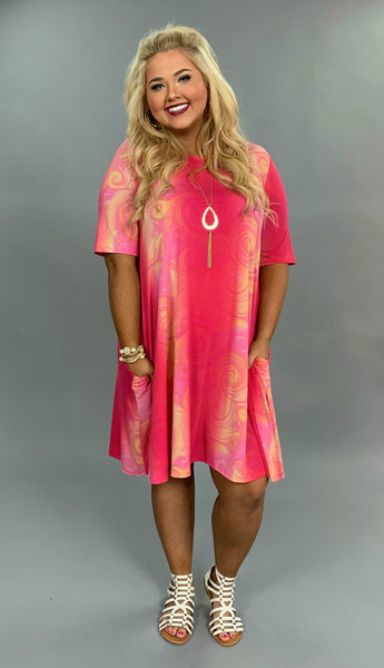 PSS-E {Oh So Happy} Pink Coral Dress with Side Pockets