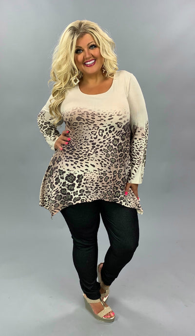PLS-S {Autumn Wishes} Ivory & Brown Animal Print Ombre Tunic PLUS SIZE 1X 2X 3X