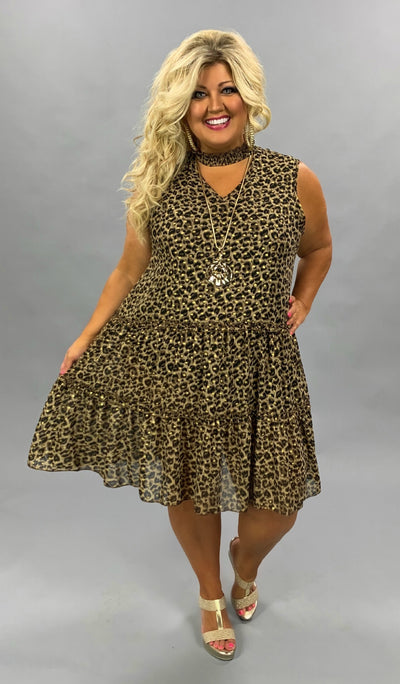 SV-A (Found The Perfect Look) Mock Neck Leopard Dress PLUS SIZE 3X