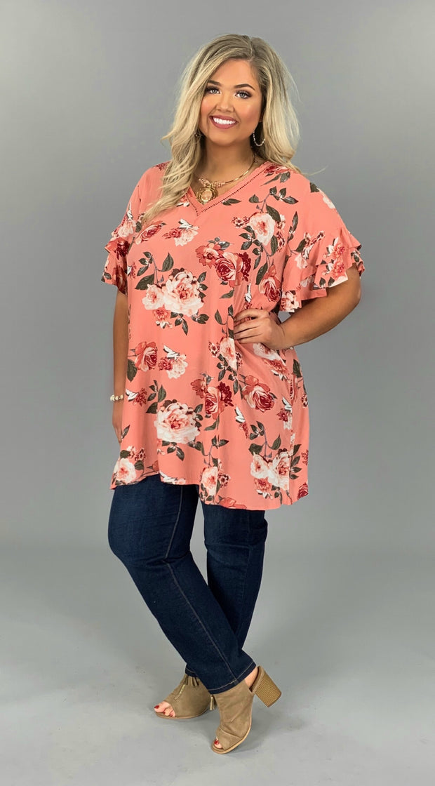 "PSS-G {Born Free} ""UMGEE"" Peach Floral Dress with V-Neck"