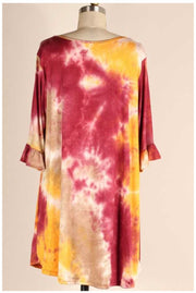PQ-Q {Falling In Love} Burgundy & Mustard Tie Dye Babydoll Dress EXTENDED PLUS SIZE XL 2X 3X 4X 5X 6X