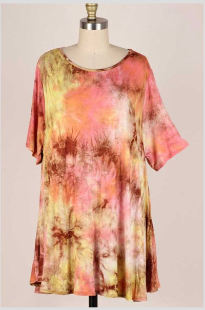 54 PSS-V {Leafy Desires} Yellow Brown Tie Dye Tunic EXTENDED PLUS SIZE  3X 4X 5X