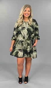 PQ-L {Total Chaos} Olive/Cream Printed Dress with Pockets