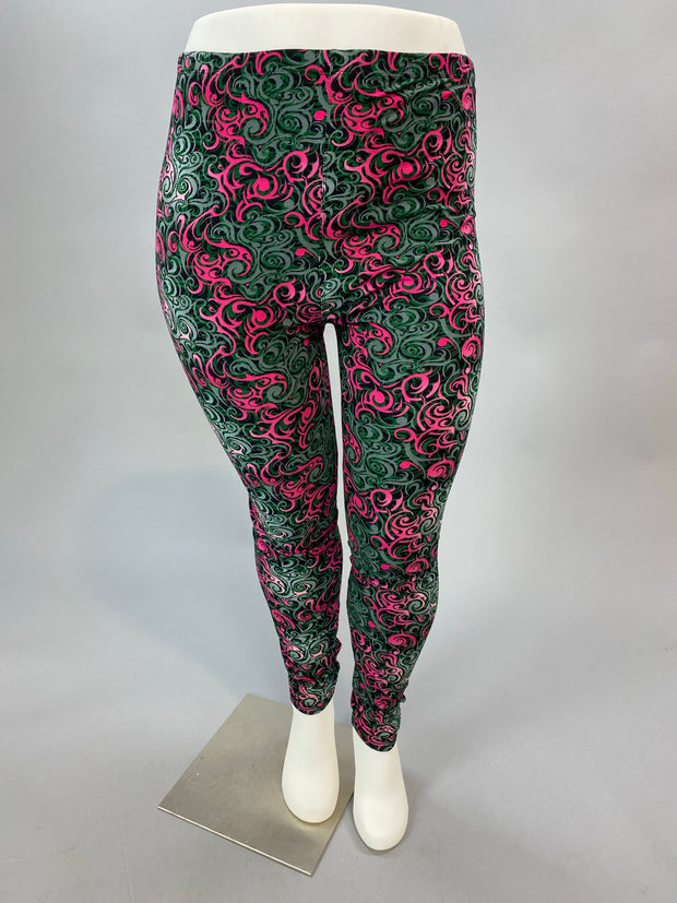 Leg-36 {Fairy Tale Beauty} Swirl Print Full Length Leggings EXTENDED PLUS SIZE 3X/5X