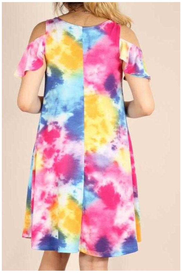 OS-T {Watercolor} Pink Blue Yellow Open Shoulder Dress SALE!!