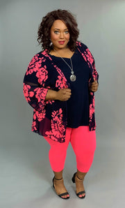 OT-K {Found My Way} Navy/Fuchsia Floral Print Cardigan SALE!