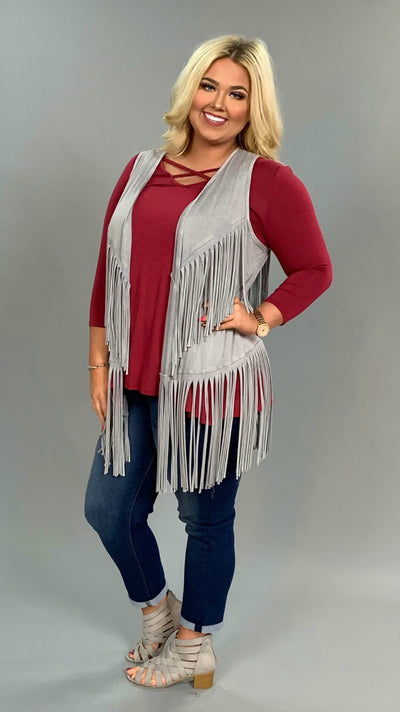 OT-C Heather Gray  with Fringed Detail (Viscose-Spandex) Vest FLASH SALE