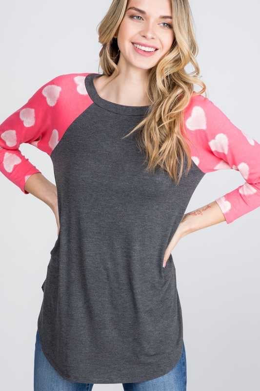 46 GT-A {Flirty Feelings} Charcoal With Pink Heart Sleeve Top PLUS SIZE XL 2X 3X