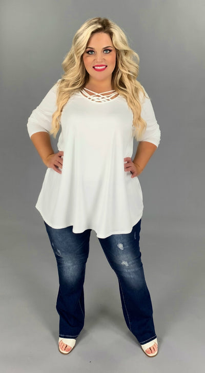 SQ-H/X {California Dreaming} Sale!  IVORY Cage Neck Top EXTENDED PLUS SIZE 3X 4X 5X 6X