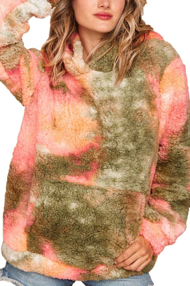 23 HD-I {Melon Fluff}  SALE!! Pink Green Sherpa Hoodie PLUS SIZE XL 2X 3X