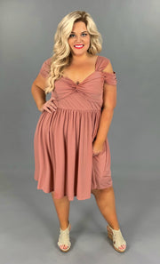 OS-Y {Sophisticated Lady} Mauve Dress with Open Sleeve Detail SALE!!